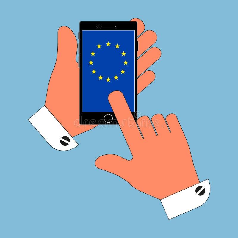 Teléfono del icono en su mano en la bandera de la pantalla de la unión europea, el aislamiento en un fondo azul Ejemplo elegante  ilustración del vector