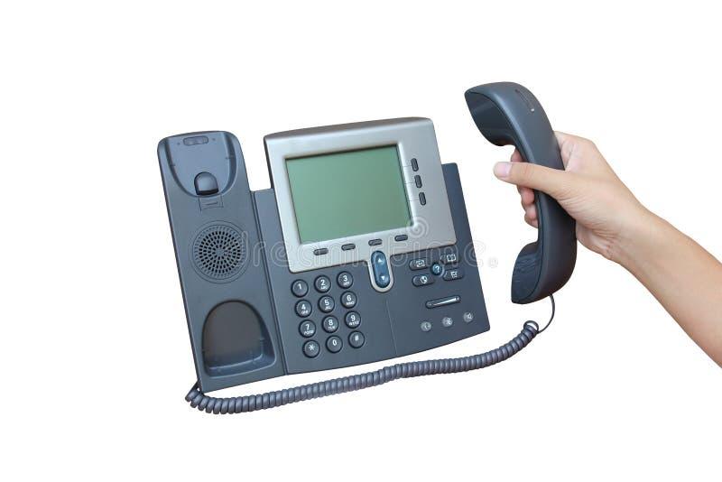 Teléfono del IP aislado sobre el backgroud blanco fotos de archivo