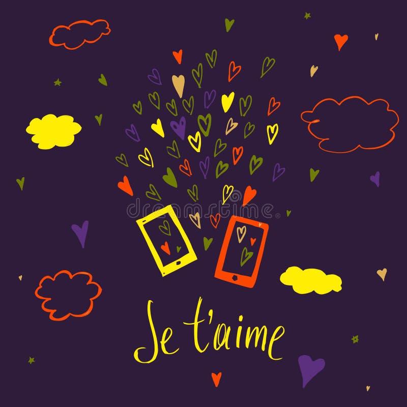 Teléfono del mensaje del amor de Valentine Day deletreado Te amo libre illustration