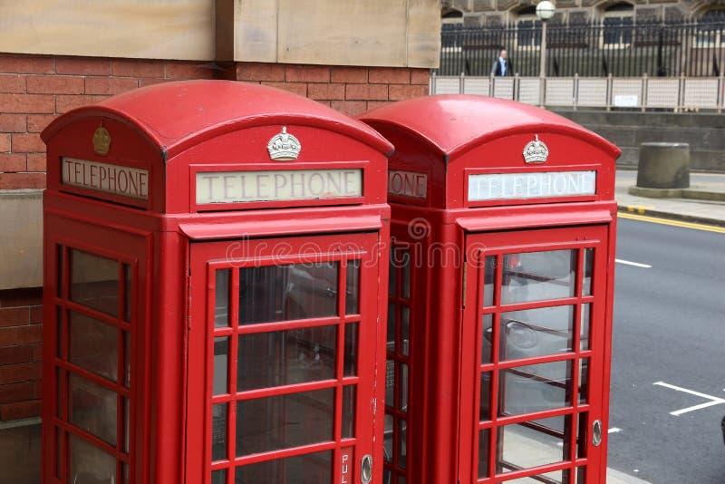 Teléfono del rojo de Leeds fotos de archivo libres de regalías