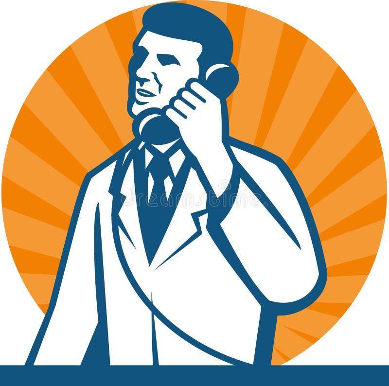 Teléfono del técnico del investigador del científico ilustración del vector