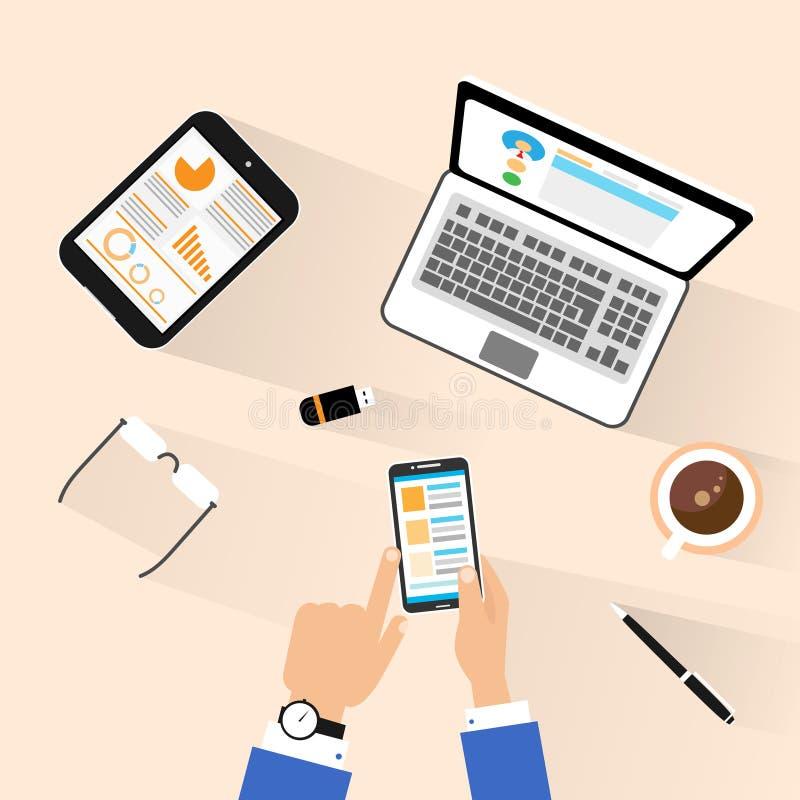 Teléfono del uso del hombre de negocios en el top del lugar de trabajo sobre la visión ilustración del vector
