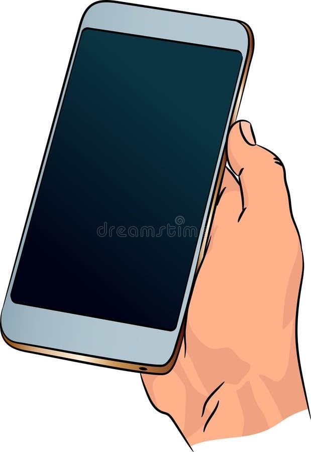 Teléfono del vector en mano humana Smartphone adulto elegante con la pantalla oscura en blanco stock de ilustración
