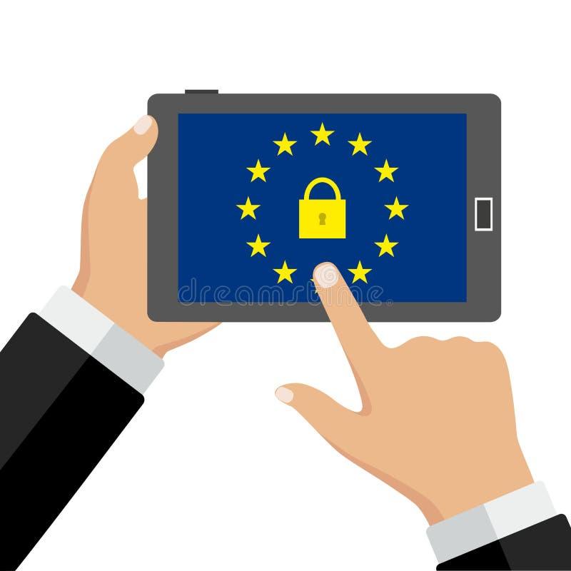 Teléfono a disposición Seguridad móvil app en la pantalla del smartphone ilustración del vector