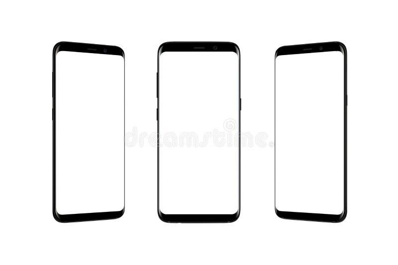 Teléfono elegante aislado en de tres posiciones fotos de archivo