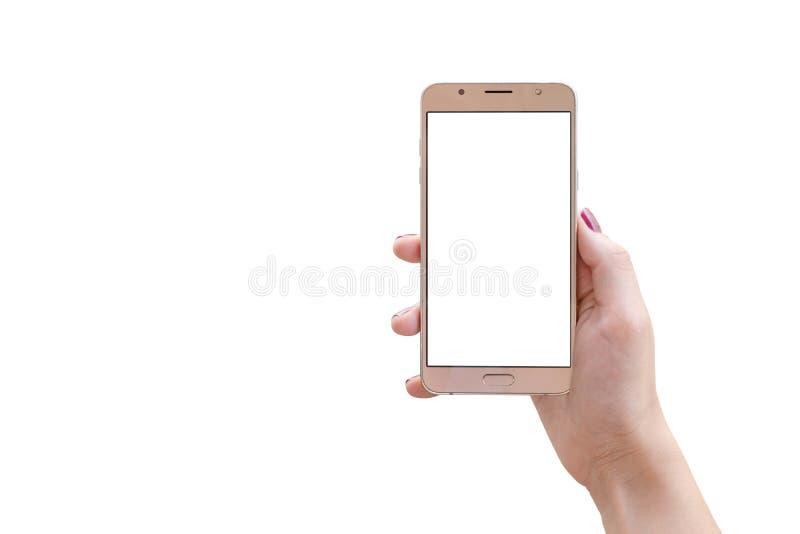 Teléfono elegante aislado en mano de la mujer fotos de archivo libres de regalías
