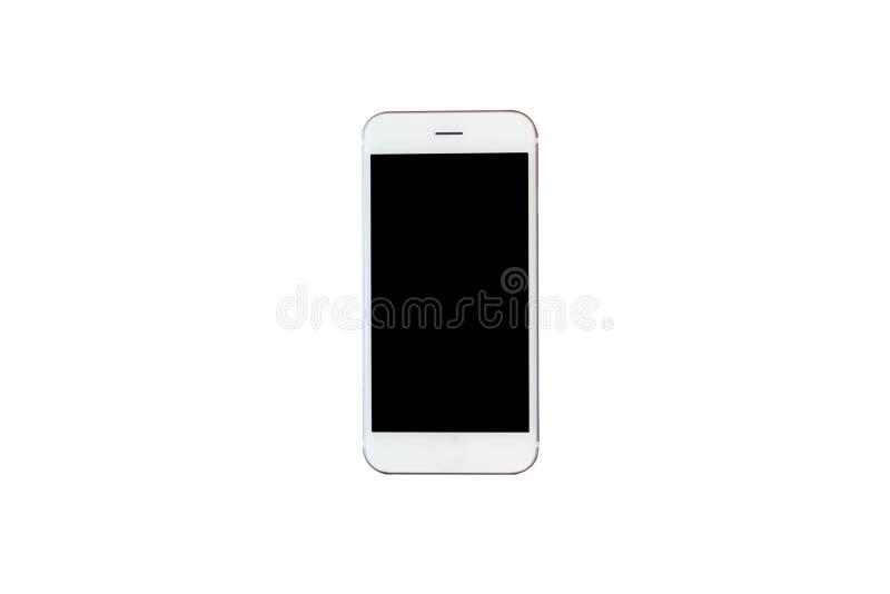 Teléfono elegante blanco aislado en el fondo blanco con la palmadita del recortes fotografía de archivo