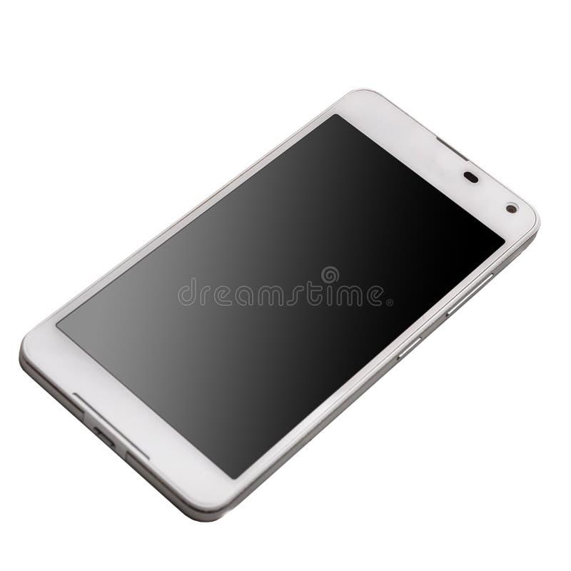 Teléfono elegante blanco con la pantalla negra aislada en el fondo blanco imágenes de archivo libres de regalías