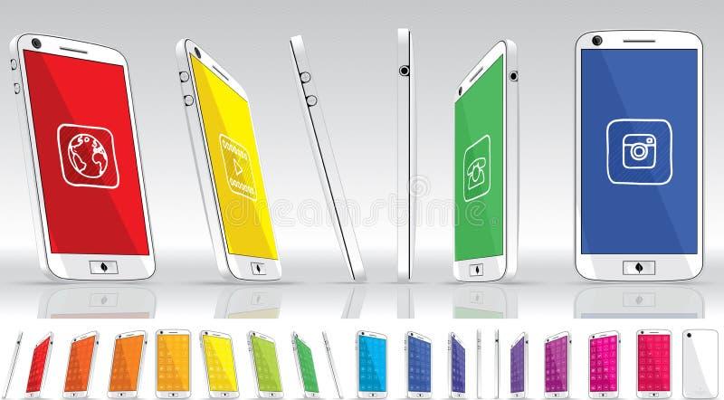 Download Teléfono Elegante Blanco - Visiones Múltiples Ilustración del Vector - Ilustración de celular, cellphone: 42442833