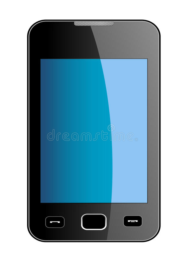 Teléfono elegante brillante con la pantalla táctil azul stock de ilustración