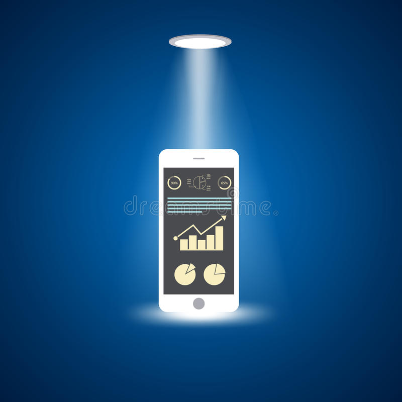 Teléfono elegante con el aumento de la carta de barra en la pantalla, concepto de diseño plano libre illustration