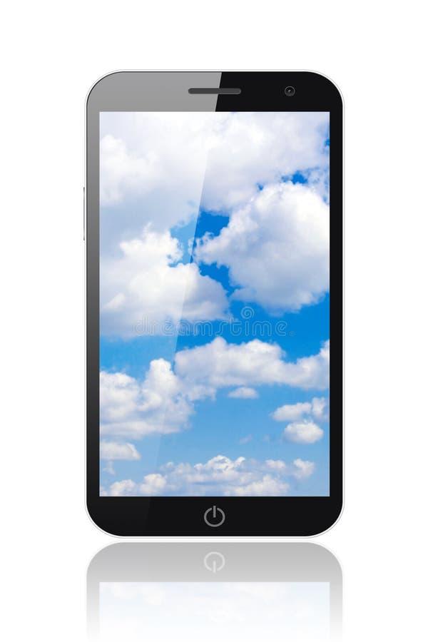 Teléfono elegante con el cielo azul stock de ilustración