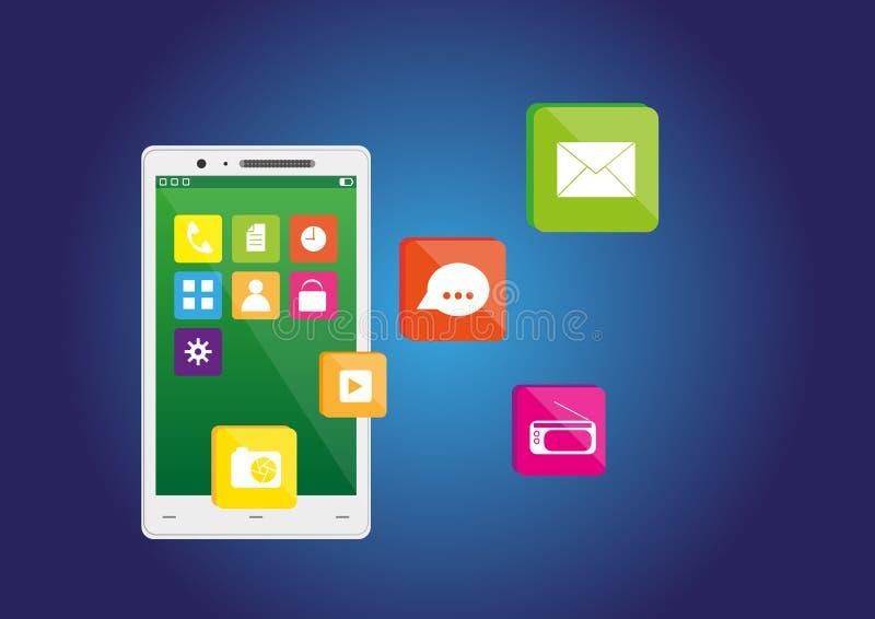 Teléfono elegante con los iconos libre illustration