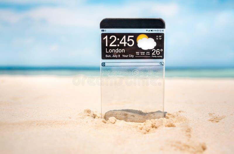 Teléfono elegante con una exhibición transparente fotografía de archivo libre de regalías