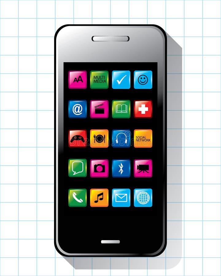 Teléfono elegante con vector de la aplicación libre illustration