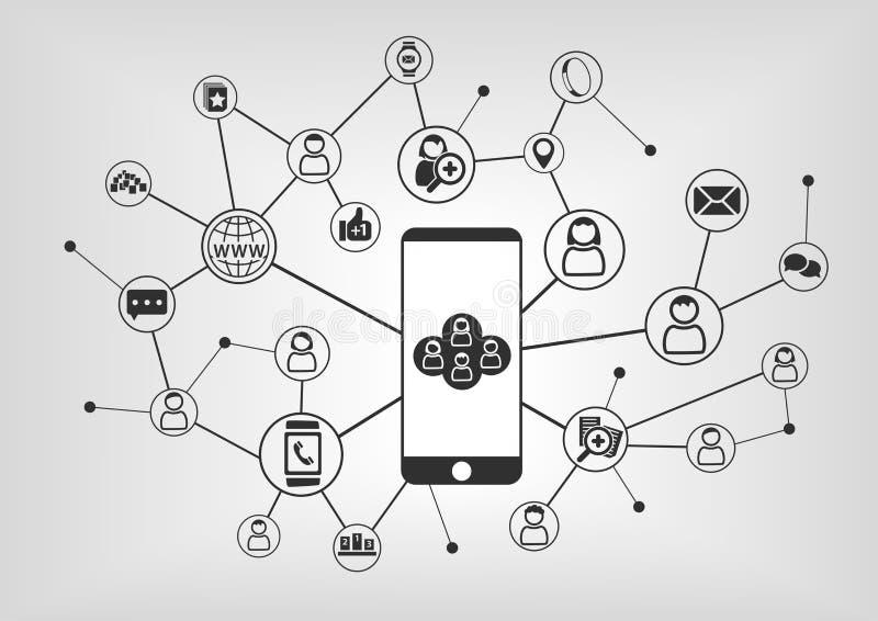 Teléfono elegante a conectar con la red social Dispositivos y gente conectados como ejemplo ilustración del vector