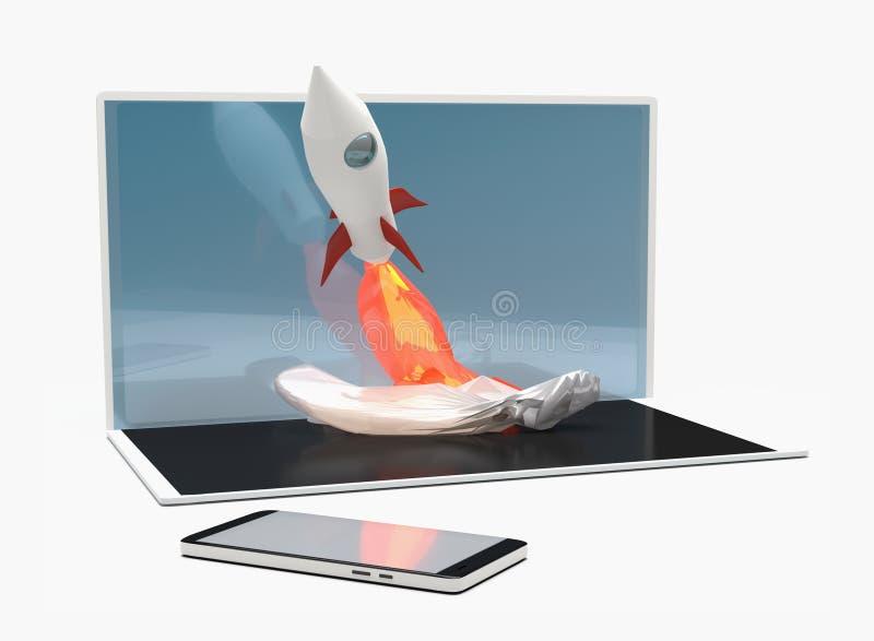 Teléfono elegante 3d-illustration del cuaderno del ordenador del comienzo de Rocket ilustración del vector