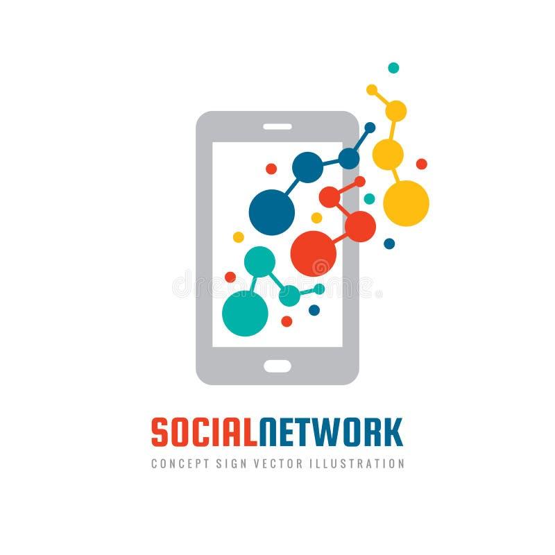 Teléfono elegante de la aplicación móvil social de la red - plantilla del logotipo del negocio del vector del concepto libre illustration