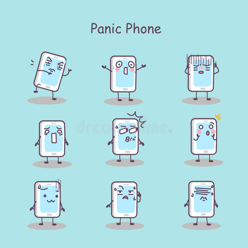 Teléfono elegante de la historieta del pánico libre illustration