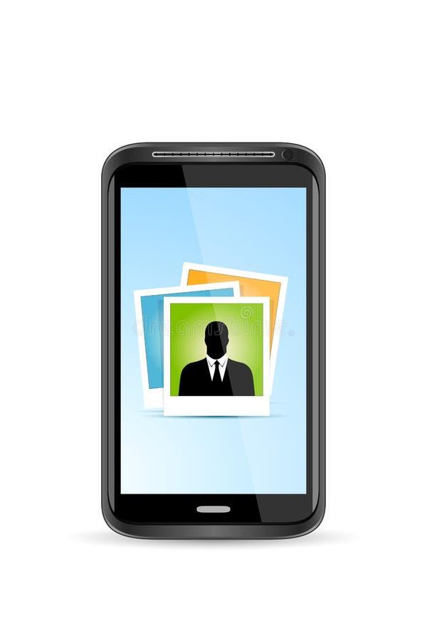 Teléfono elegante de la pantalla táctil con el icono del uso de la foto libre illustration