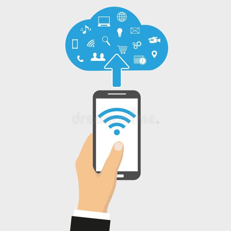 Teléfono elegante de la pantalla táctil del ejemplo con la nube de los medios iconos del uso ilustración del vector