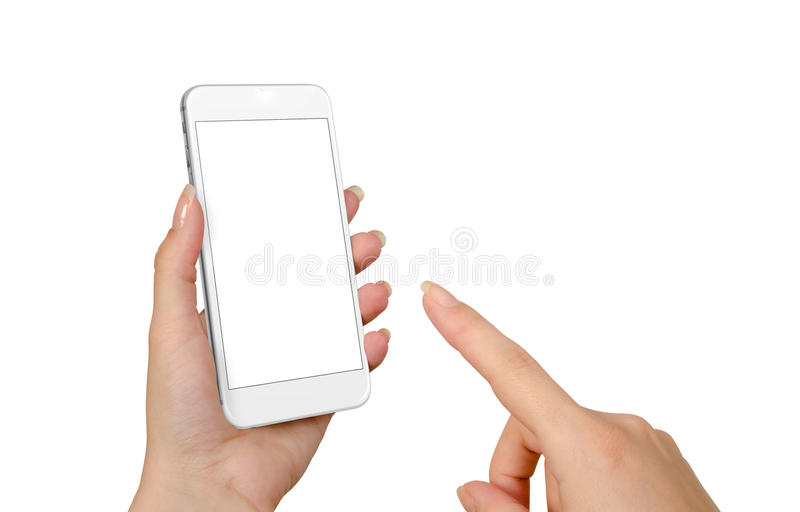 Teléfono elegante del tacto de la mano de la mujer con la pantalla en blanco aislada para la maqueta fotografía de archivo