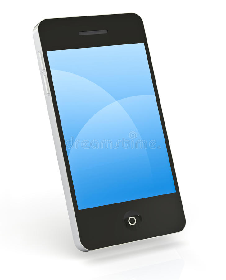 Teléfono elegante en blanco fotografía de archivo