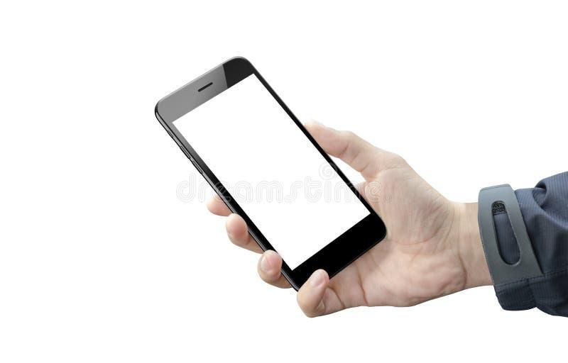 Teléfono elegante en la mano del hombre aislada Pantalla en blanco del dispositivo móvil para la maqueta imagen de archivo libre de regalías