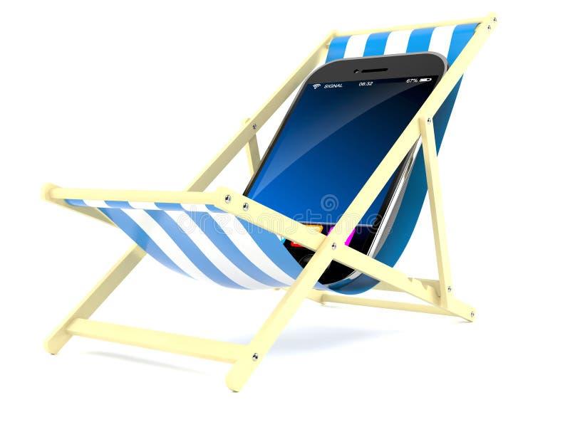 Teléfono elegante en silla de cubierta libre illustration