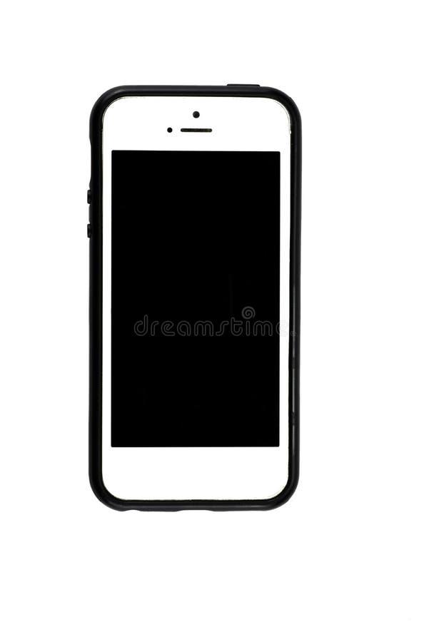 Teléfono elegante encendido aislado en el fondo blanco con la trayectoria de recortes imagenes de archivo