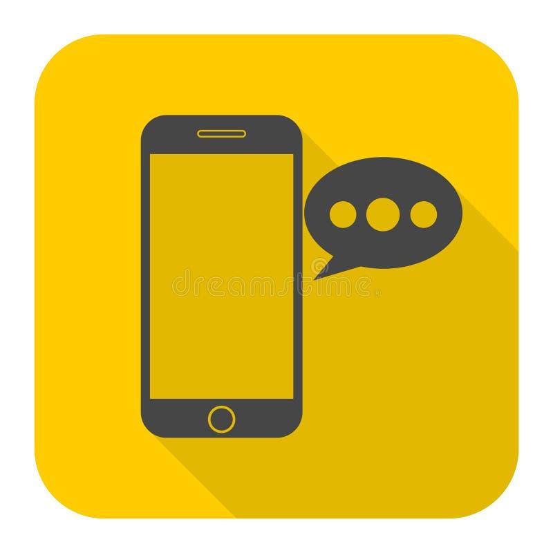 Teléfono elegante, icono del mensaje de la voz libre illustration