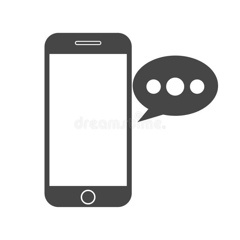 Teléfono elegante, icono del mensaje de la voz stock de ilustración