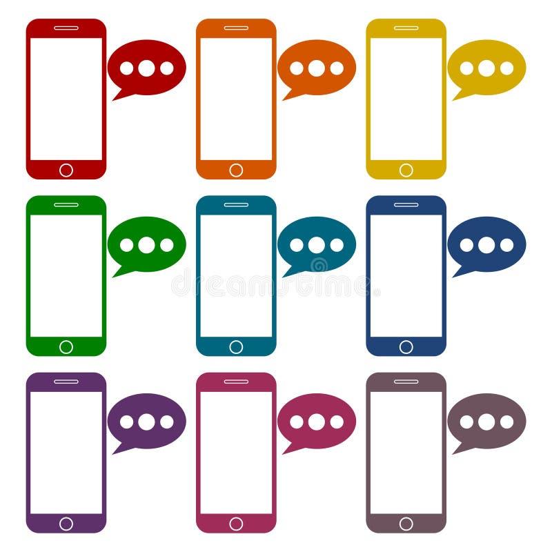 Teléfono elegante, iconos del mensaje de la voz fijados libre illustration