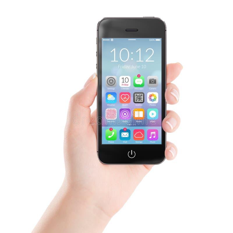 Teléfono elegante móvil negro con los iconos coloridos del uso en fotografía de archivo libre de regalías