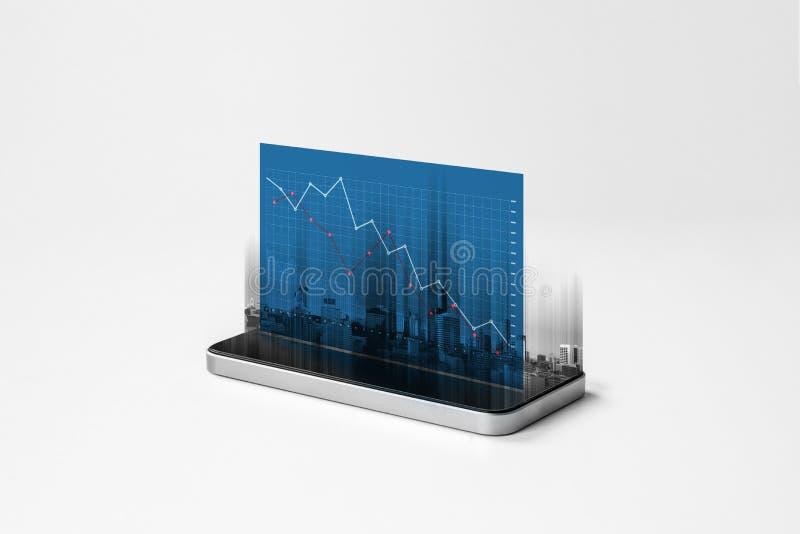 Teléfono elegante móvil y pantalla de disminución del holograma del gráfico del negocio fotos de archivo libres de regalías