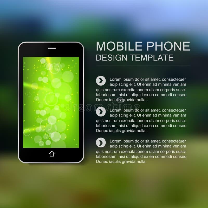 Teléfono elegante negro con el fondo blured verde ilustración del vector