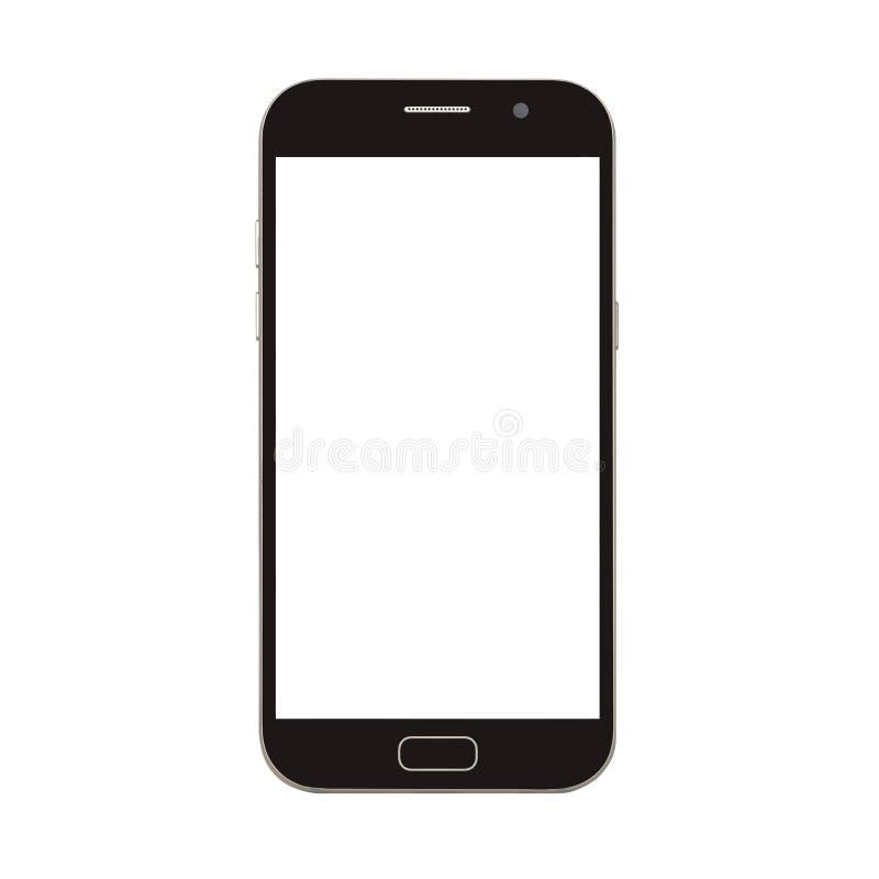 teléfono elegante negro con la pantalla en blanco aislada en blanco imagen de archivo libre de regalías