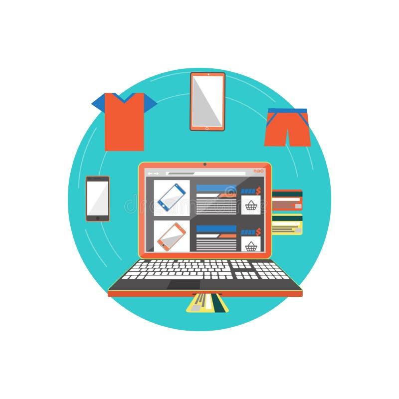 Teléfono elegante o ropa de la tienda en línea stock de ilustración