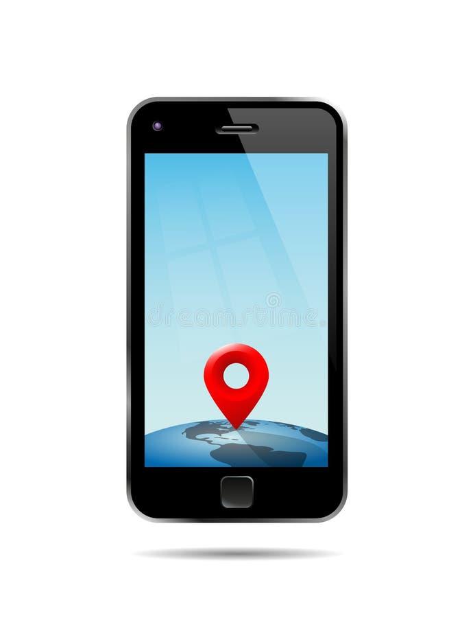 Teléfono elegante que muestra un lugar en The Globe stock de ilustración