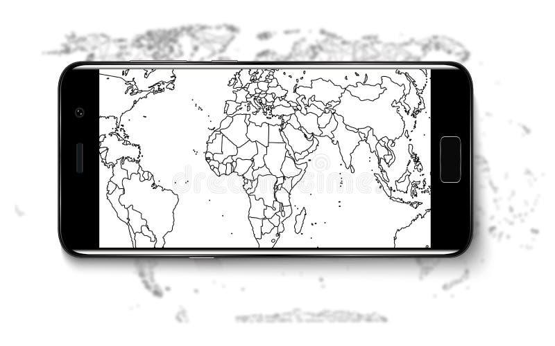 Teléfono elegante Teléfono elegante realista del teléfono móvil con la pantalla en blanco aislada en fondo Ejemplo del vector par ilustración del vector