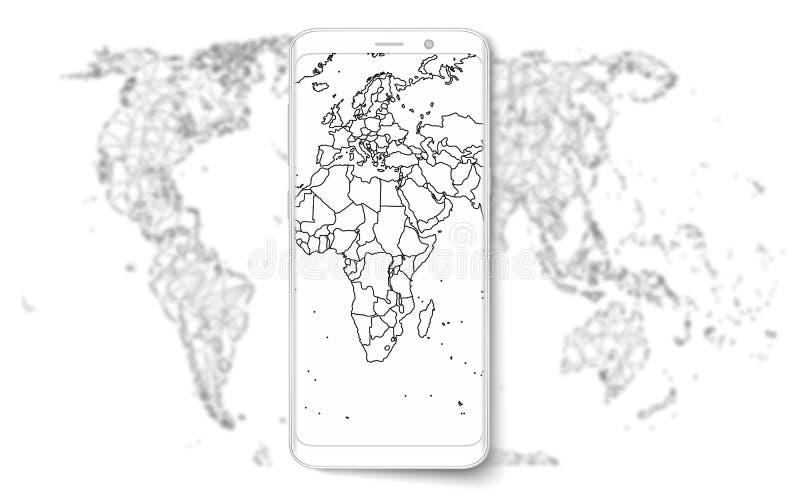 Teléfono elegante Teléfono elegante realista del teléfono móvil con la pantalla en blanco aislada en fondo Ejemplo del vector par libre illustration