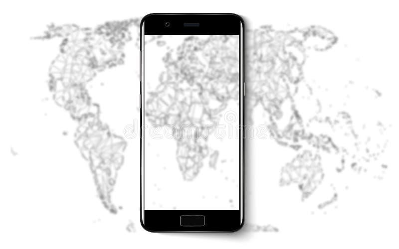 Teléfono elegante Teléfono elegante realista del teléfono móvil con la pantalla en blanco aislada en fondo Ejemplo del vector par stock de ilustración