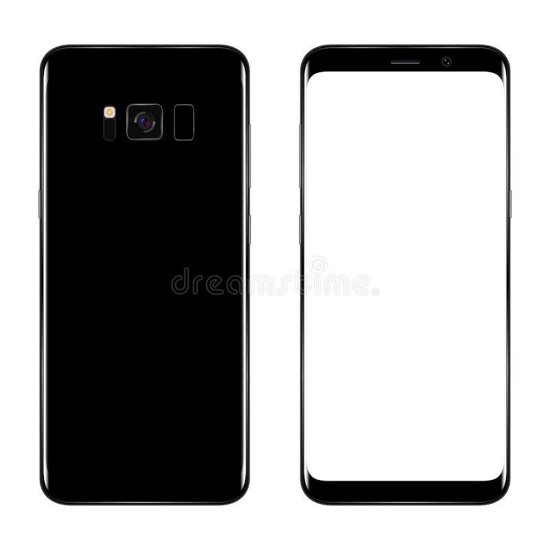 Teléfono elegante Smartphone realista del teléfono móvil con la pantalla en blanco aislada en fondo Ejemplo del vector para impri ilustración del vector