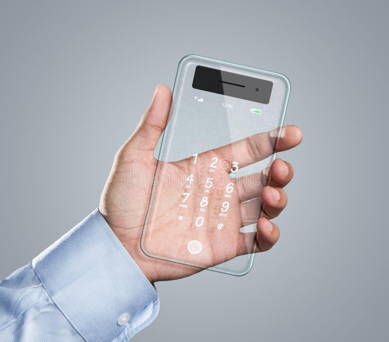 Teléfono elegante transparente futurista a disposición imagenes de archivo