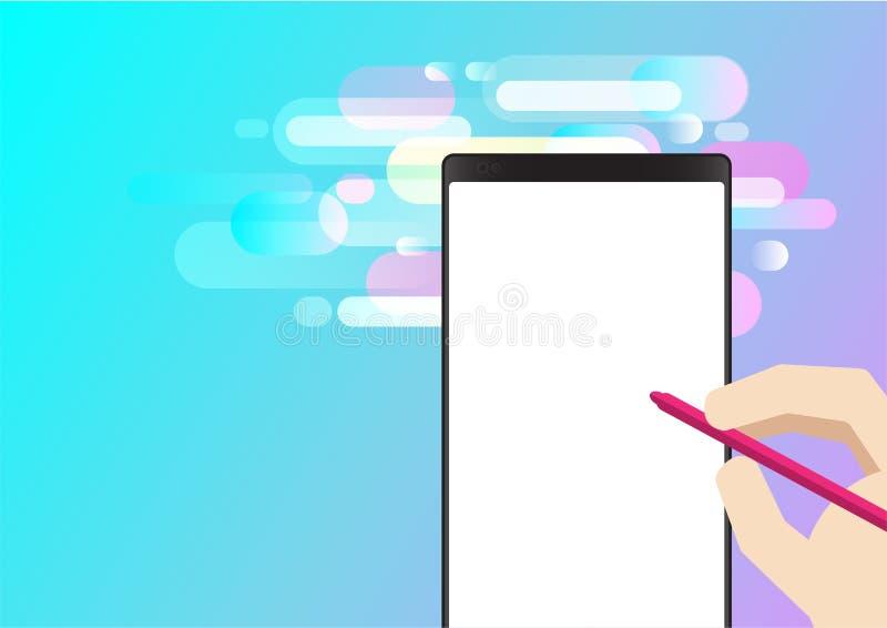 Teléfono elegante y fondo rosado de la pendiente de la pluma del color ilustración del vector