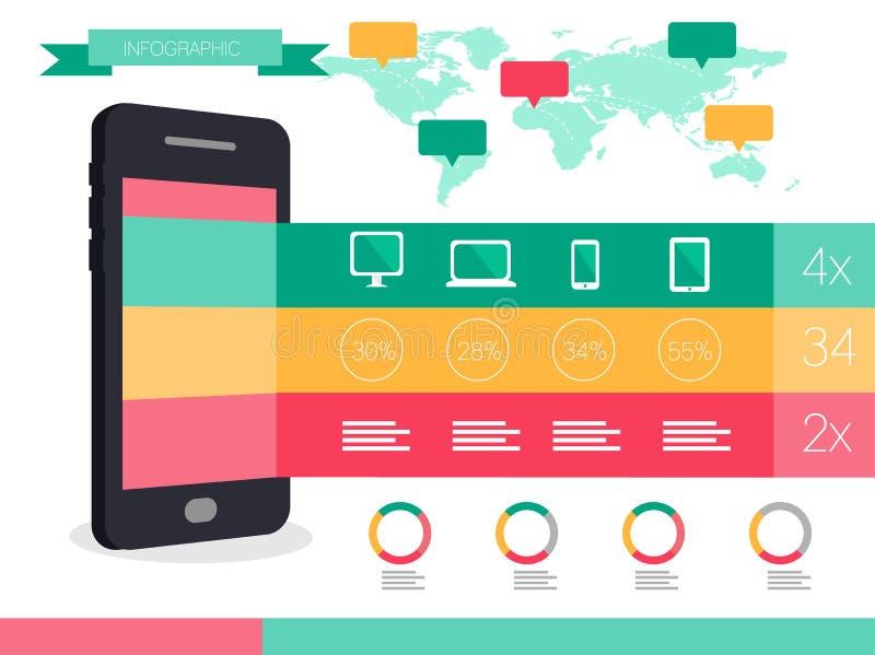 Teléfono elegante y gráficos elegantes de la información de los dispositivos ilustración del vector