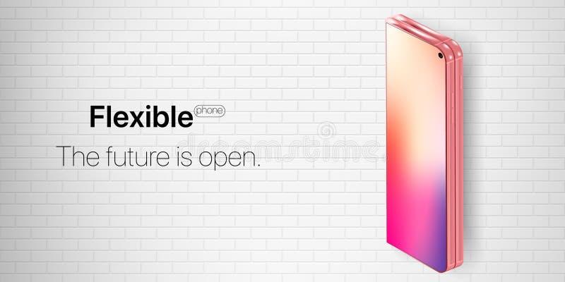 Teléfono flexible Nueva tecnología del concepto en industrias del teléfono foto de archivo