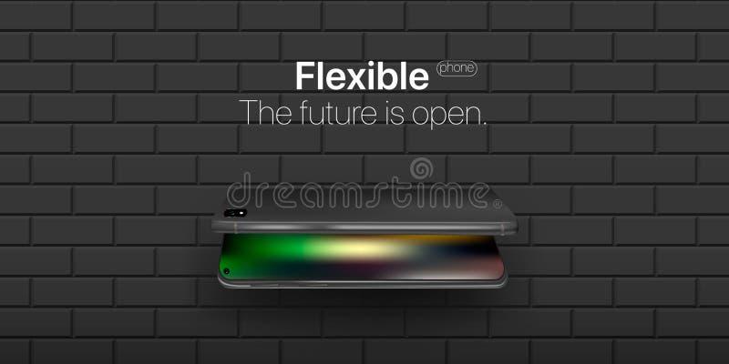 Teléfono flexible Nueva tecnología del concepto en industrias del teléfono Exhibición flexible del colgante doblado del teléfono  foto de archivo