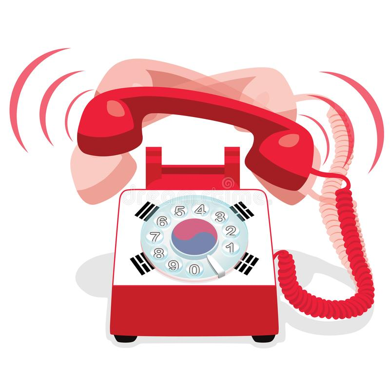 Teléfono inmóvil rojo de sonido con el dial rotatorio y con la bandera de la Corea del Sur stock de ilustración