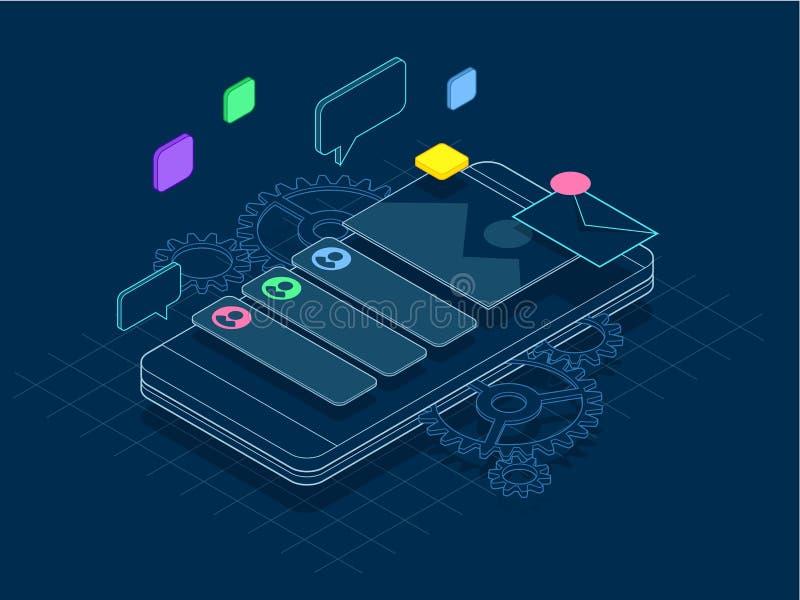 Teléfono isométrico con los engranajes, los dientes y el concepto de la reparación de línea El móvil mantiene el ejemplo del vect libre illustration